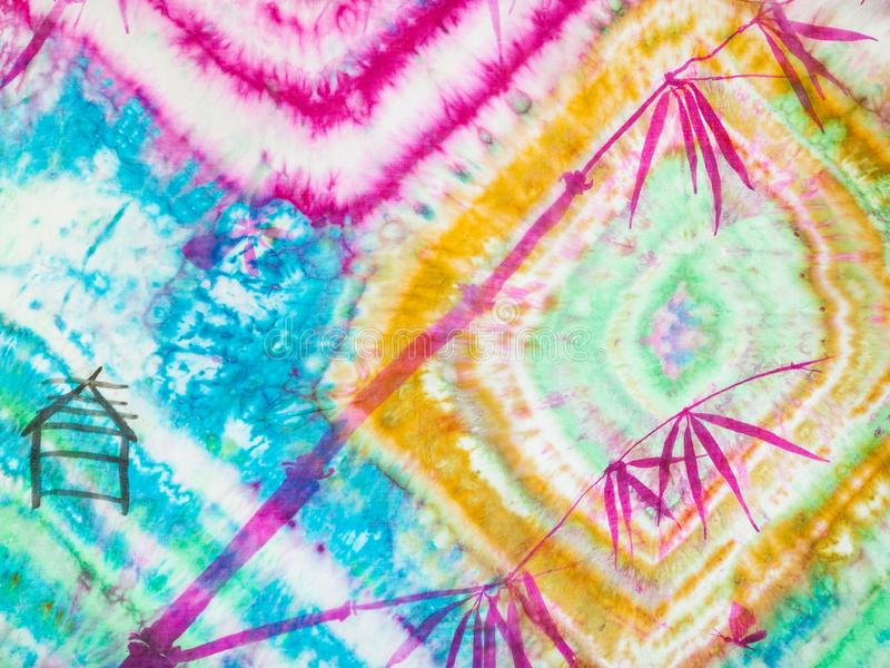 Fragmento del batik nodular con la imagen de la ramita ilustración del vector