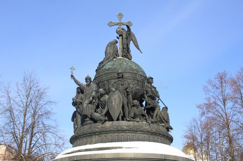 Fragmento del monumento al milenio de Rusia foto de archivo