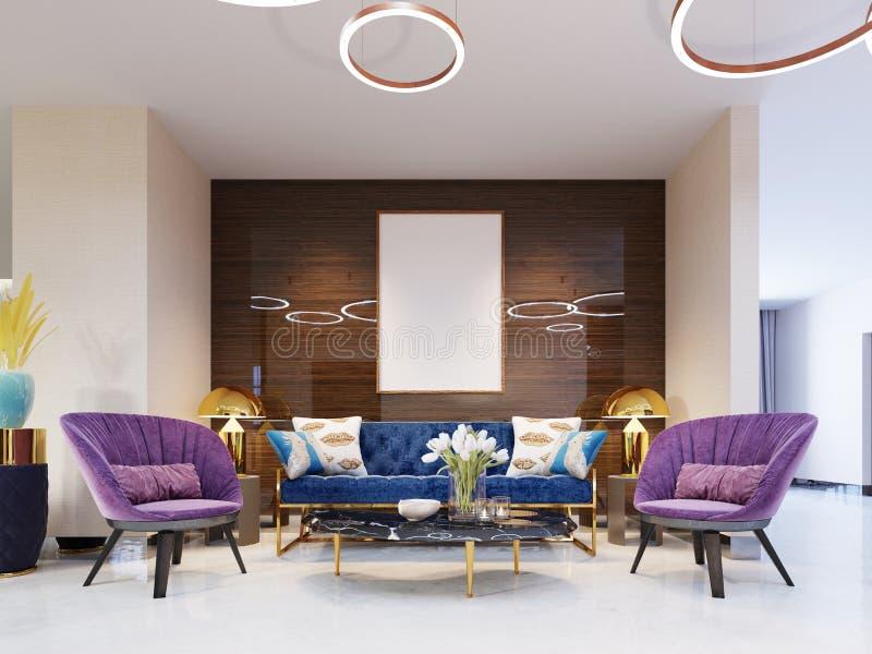 Fragmento del pasillo del hotel de lujo de cinco estrellas sofá lujoso con las sillas y una tabla de la revista con las flores Ár ilustración del vector