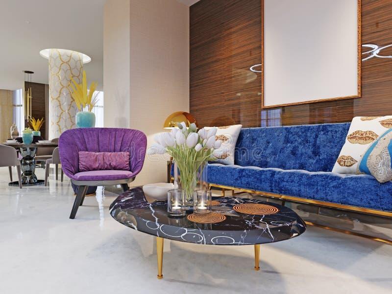 Fragmento del pasillo del hotel de lujo de cinco estrellas sofá lujoso con las sillas y una tabla de la revista con las flores Ár stock de ilustración