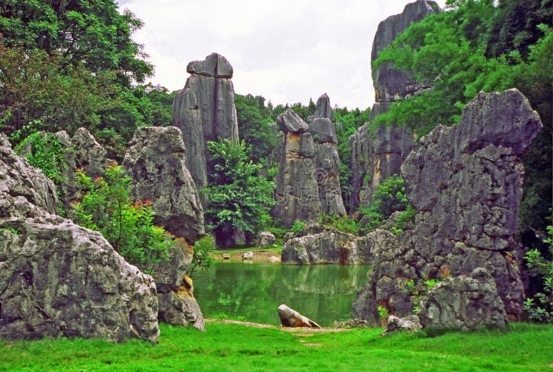 Fragmento del shilin - bosque de piedra - cerca de Kunming en el provi de Yunnan foto de archivo