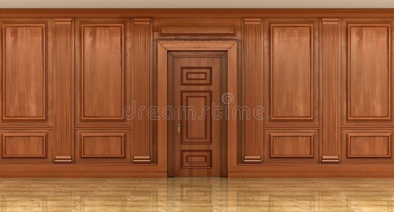Fragmento do interior dos painéis de madeira clássicos foto de stock royalty free