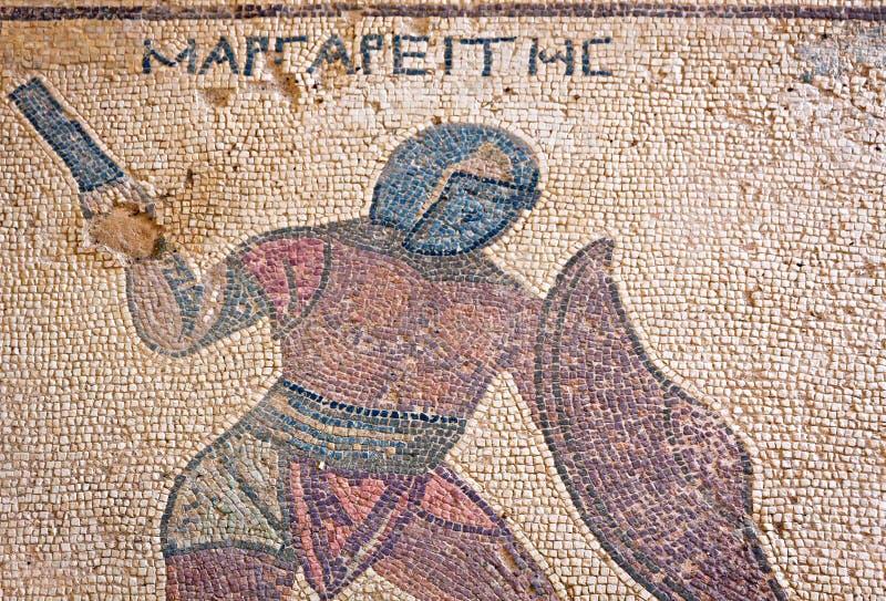 Fragmento do mosaico antigo em Kourion, Chipre fotografia de stock