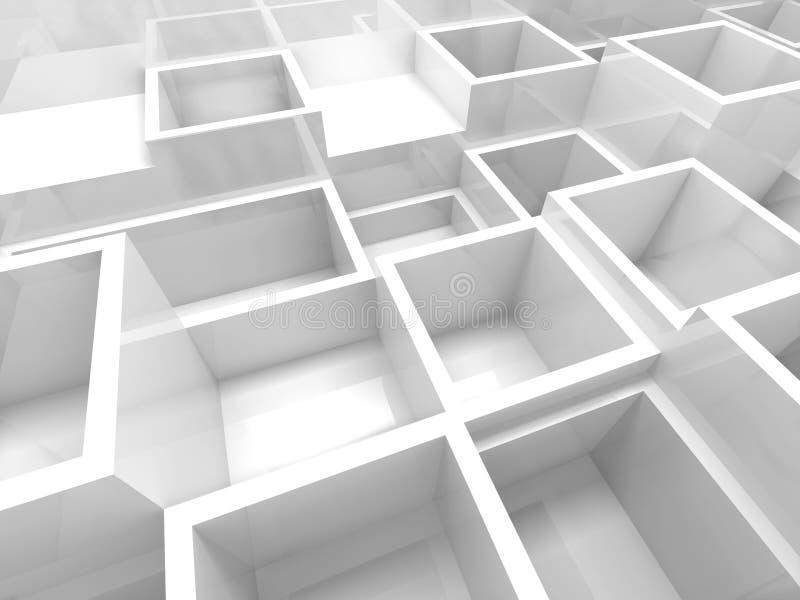 Fragmento interior vacío 3d con las células de la casilla blanca stock de ilustración