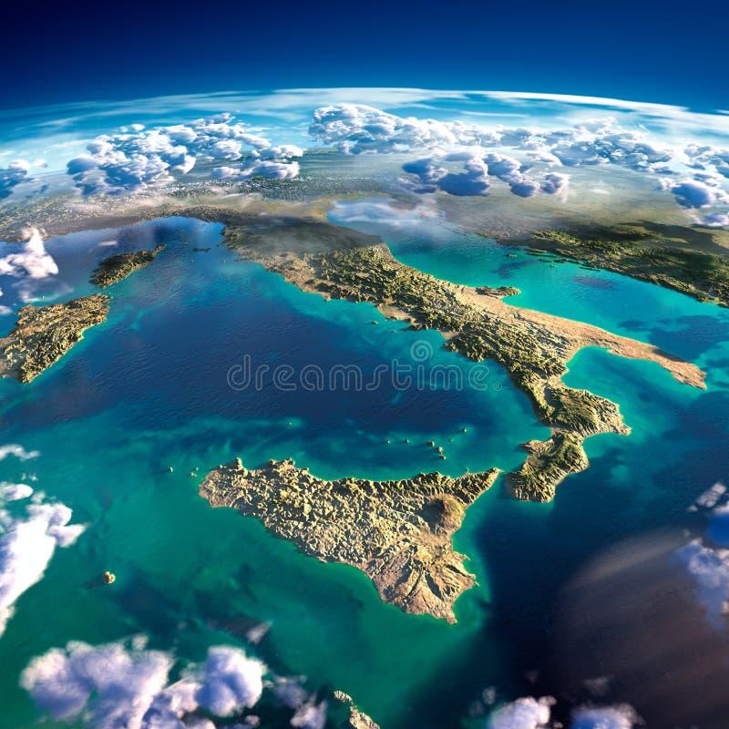Fragmentos da terra do planeta. Itália e o mar Mediterrâneo ilustração do vetor