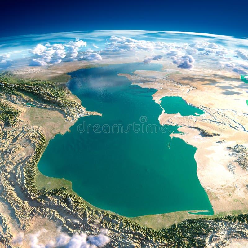 Fragmentos da terra do planeta. Mar Cáspio ilustração royalty free
