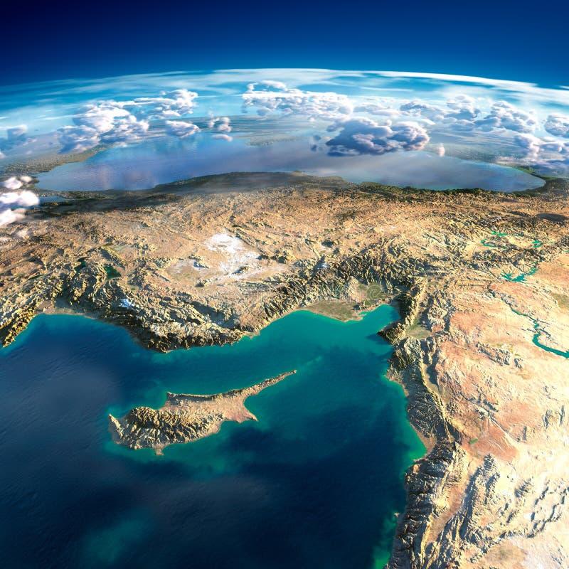 Fragmentos de la tierra del planeta. Chipre, Siria y Turquía stock de ilustración