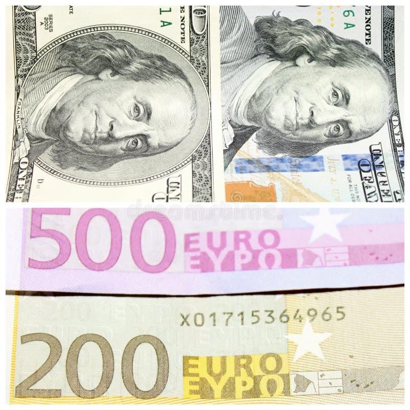 Fragmentos de los banconotes del ciento-dólar y billetes de banco de doscientos y quinientos euros foto de archivo libre de regalías