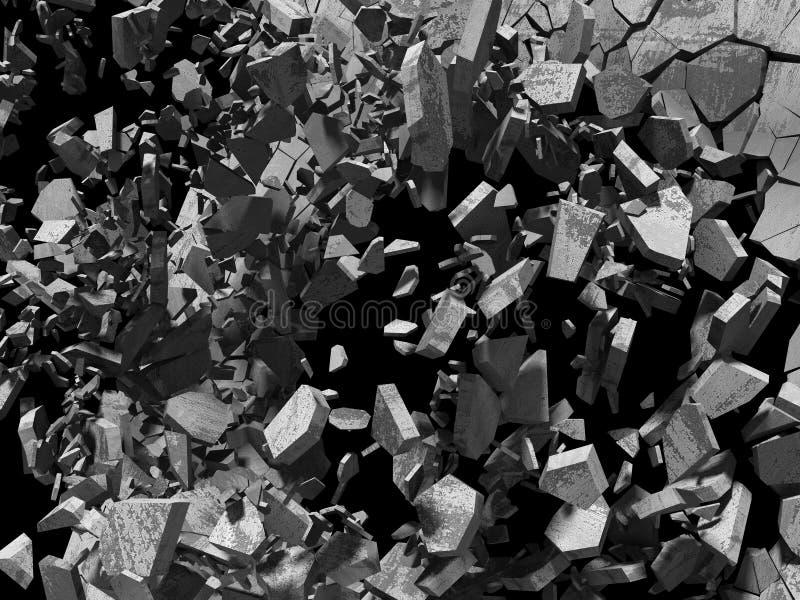 Fragmentos do muro de cimento da demolição da destruição da explosão abs ilustração stock