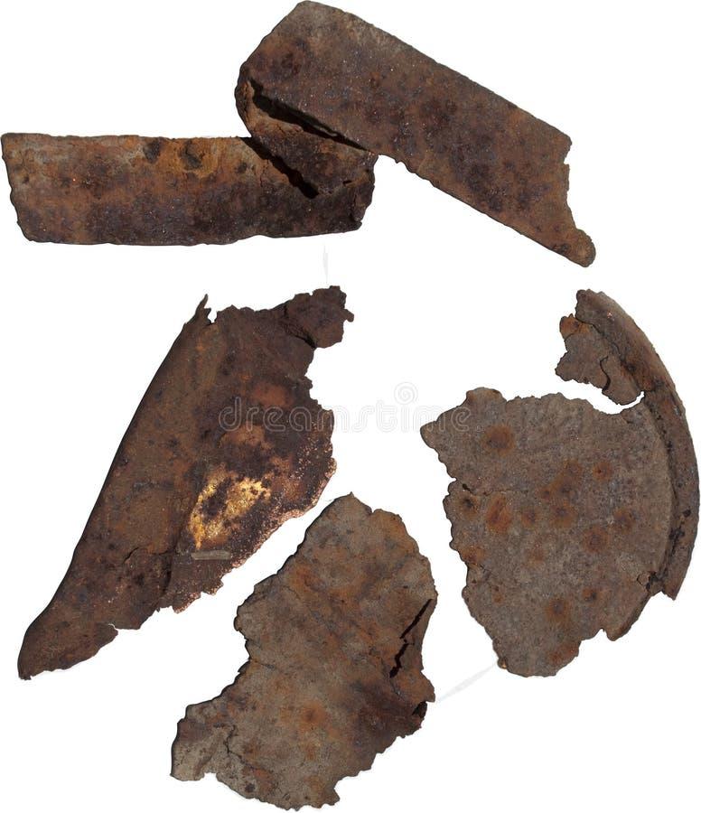 Fragmentos oxidados do metal fotos de stock