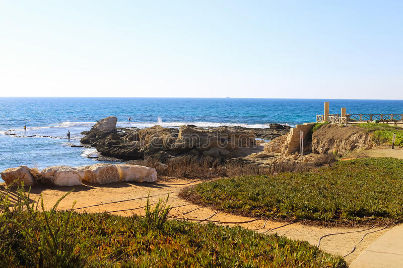 Fragments of ancient Roman villa in National park Caesarea, Is. National park Caesarea on the Mediterranean, Israel. Fragments of ancient Roman villa stock photo