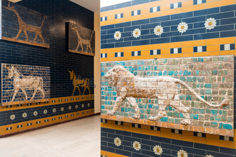 Fragments of the Babylonian Ishtar Gate in the Istanbul Archaeology Museums, Turkey royalty free stock image
