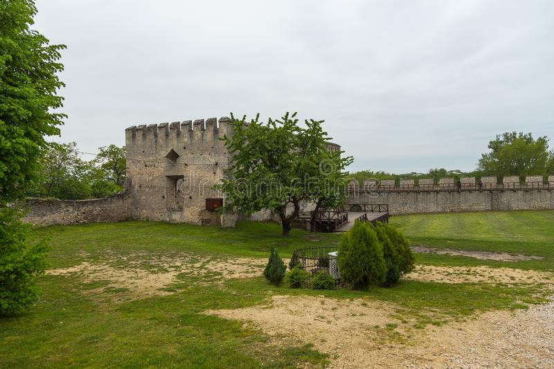 Fragments of city walls, part of the defensive walls, Szydlow, Poland. Szydlow, Poland- 23 May 2015: Fragments of city walls, part of the defensive walls stock images