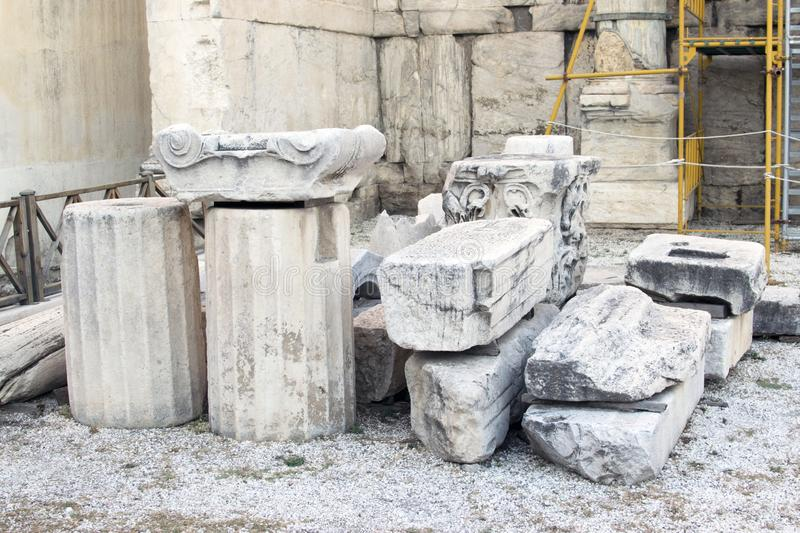 Fragments of the columns of Greek civilization in Athens. stock photography