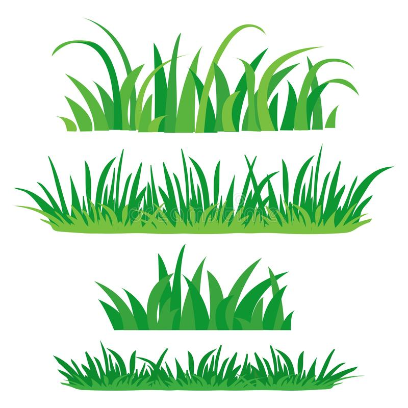 Fragments of green grass. Set of design elements of nature. Vector illustration vector illustration