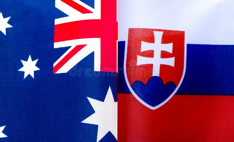 Fragments of the national flags of Australia and the Slovak Republic of Serbia. Close up royalty free stock image