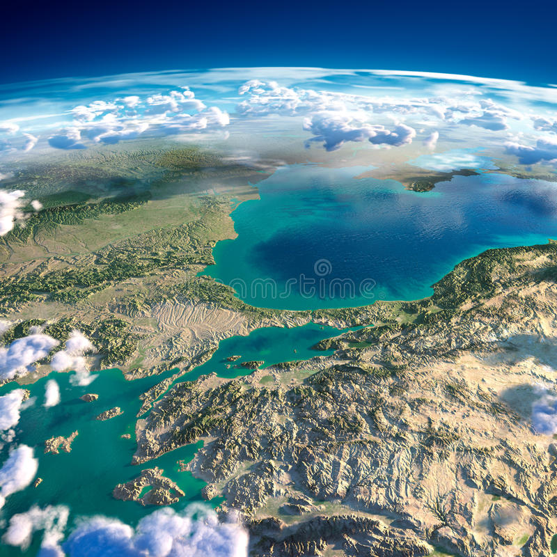 Fragments of the planet Earth. Turkey. Sea of Marmara vector illustration
