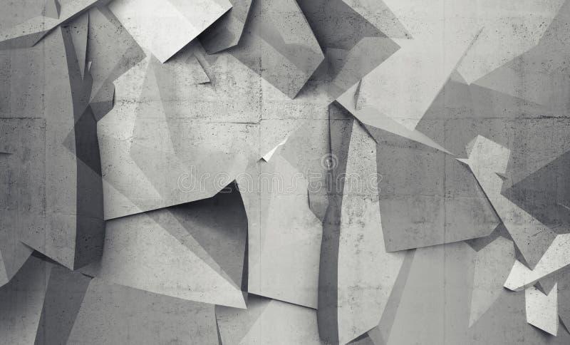 Fragments polygonaux chaotiques abstraits sur le mur en béton gris illustration de vecteur