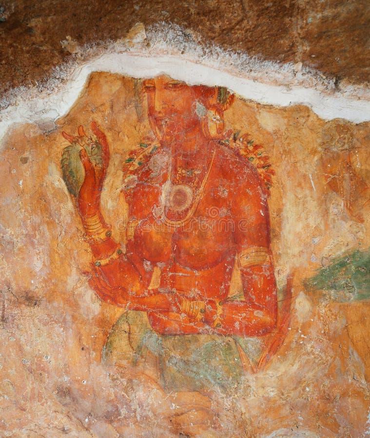 Fragments of weathered paintings on rock. Sigiriya, Polonnaruwa, Sri Lanka royalty free stock image