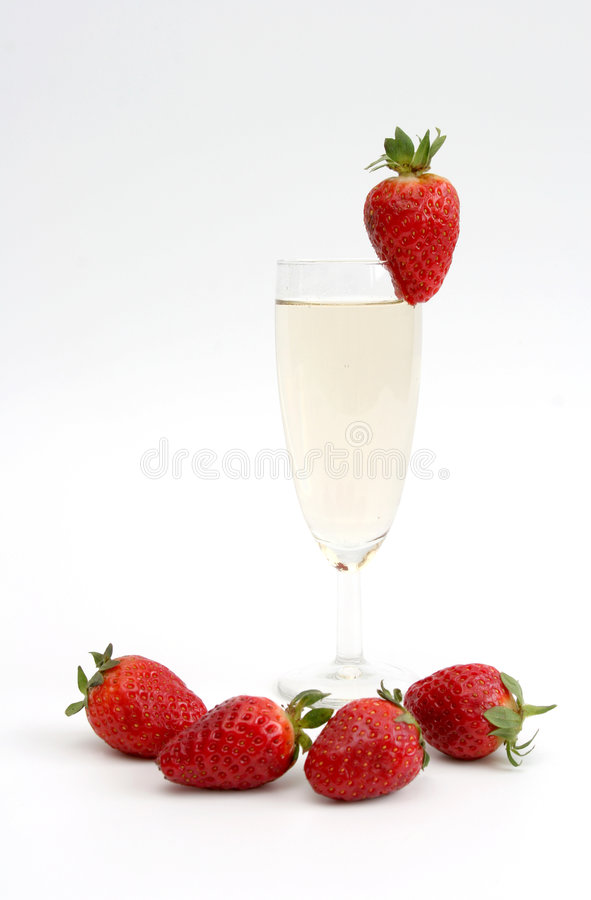 Fragola e champagne fotografia stock