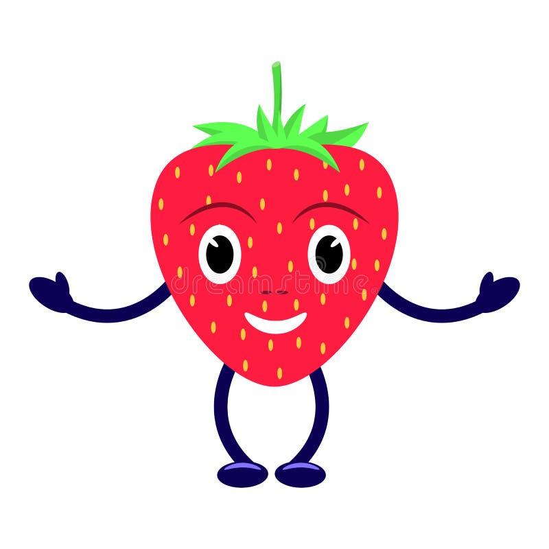 Fragola rossa sorridente del personaggio dei cartoni animati di vettore royalty illustrazione gratis
