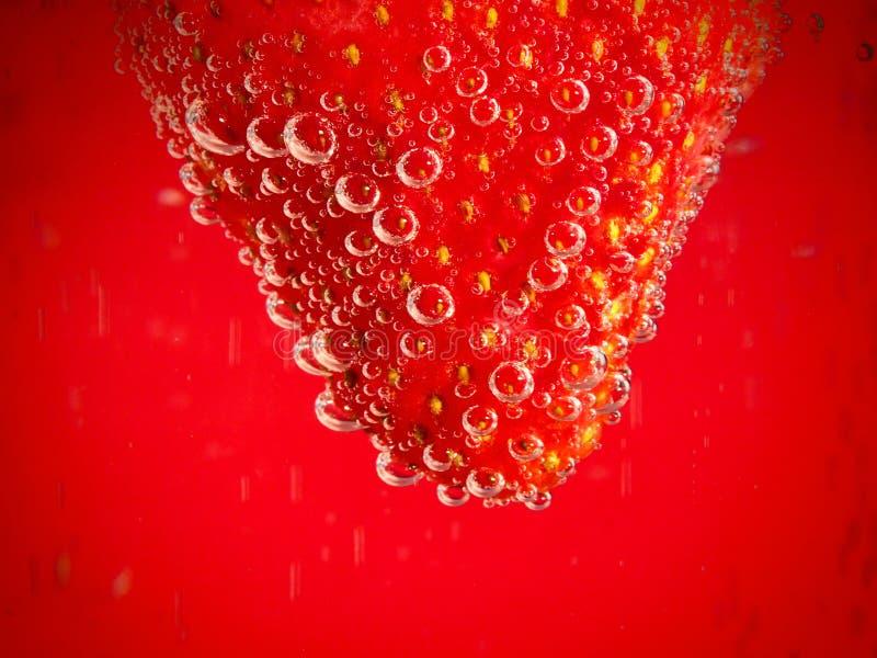 Fragola su fondo rosso con le bolle fotografia stock