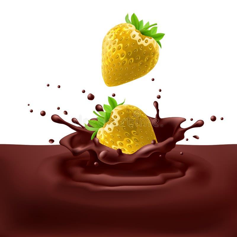 Fragole con cioccolato illustrazione di stock
