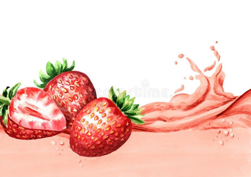 Fragole fresche su un'ondata di succo della fragola, illustrazione disegnata a mano dell'acquerello illustrazione di stock