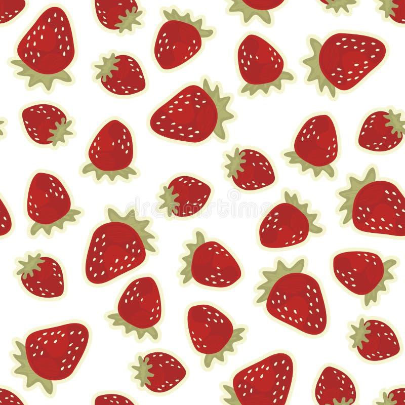 Fragole rosse sul modello senza cuciture bianco royalty illustrazione gratis
