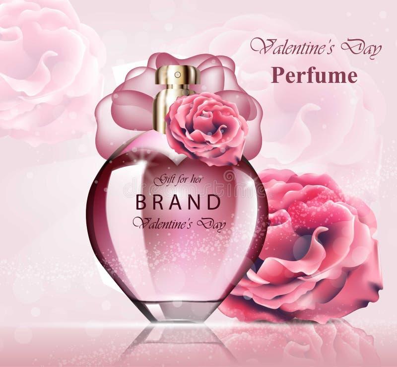 Fragrância cor-de-rosa delicada da garrafa de perfume das mulheres Os projetos de empacotamento realísticos do produto de vetor z ilustração royalty free