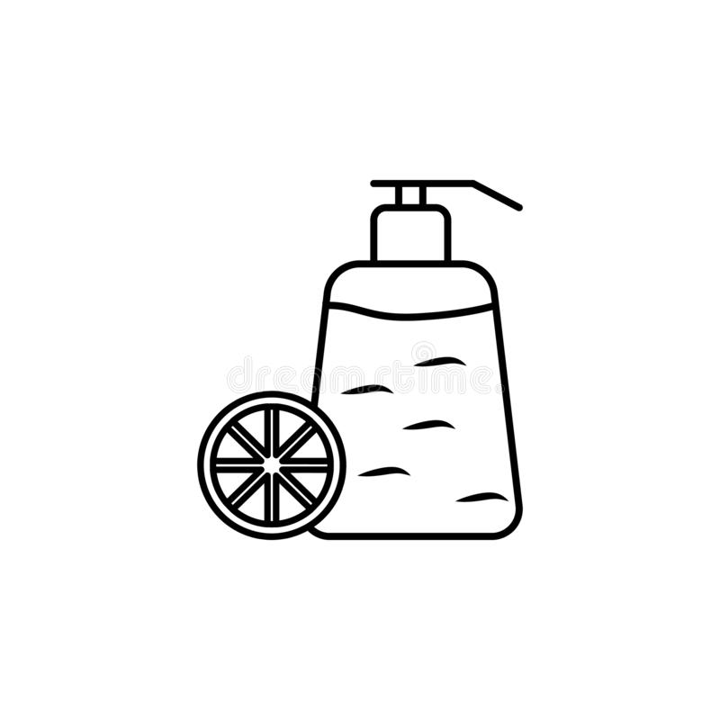 Fragrance bottle of citric fruit outline icon. Signs and symbols can be used for web, logo, mobile app, UI, UX royalty free illustration