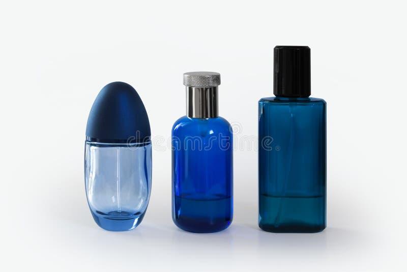 Blue fragrance bottles stock images