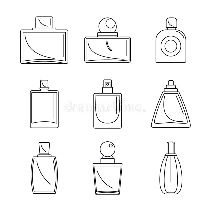 Fragrance bottles perfume icons set, outline style vector illustration