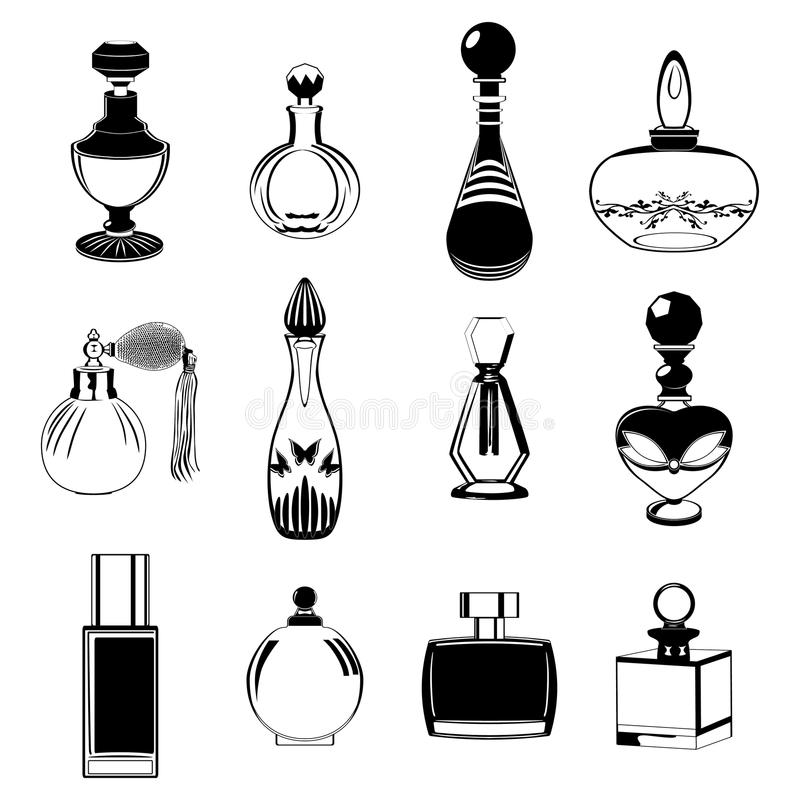 Fragrance bottles collection stock illustration