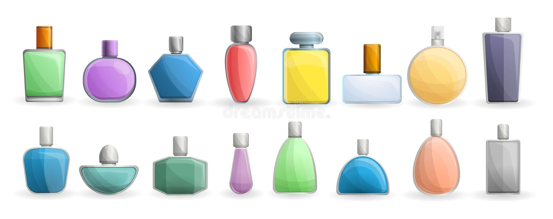 Fragrance bottles icon set, cartoon style vector illustration