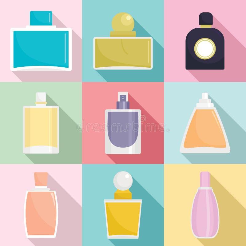 Fragrance bottles perfume icons set, flat style royalty free illustration