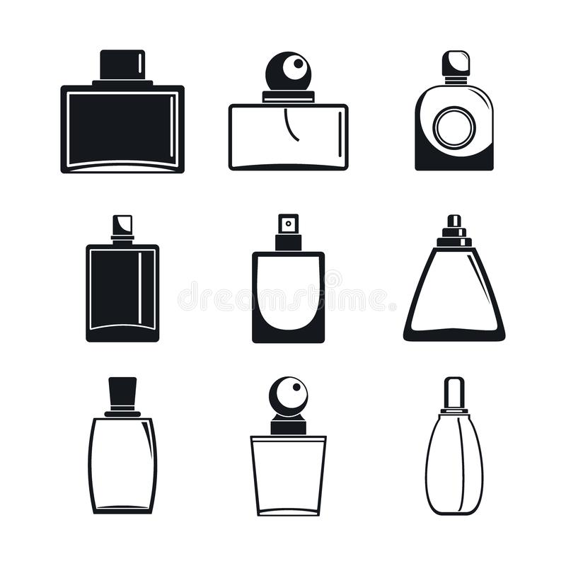 Fragrance bottles perfume icons set, simple style vector illustration