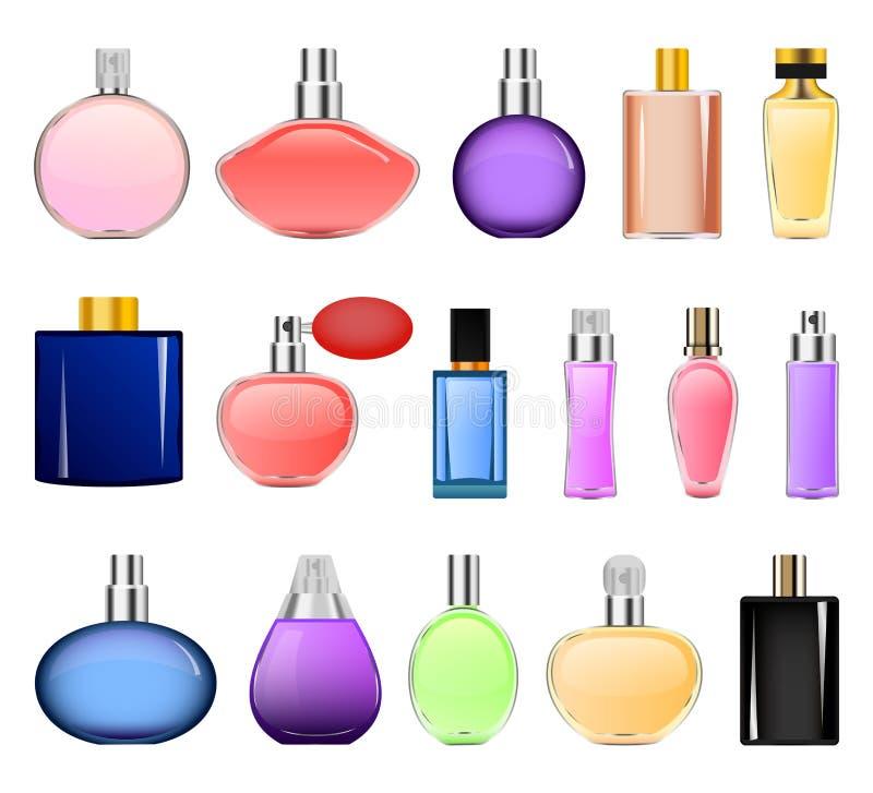 Fragrance bottles mockup set, realistic style stock illustration