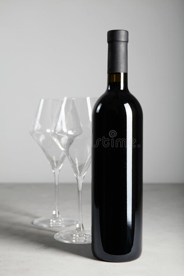 Fragrant aged wine in the bottle. Noble drink.  stock image
