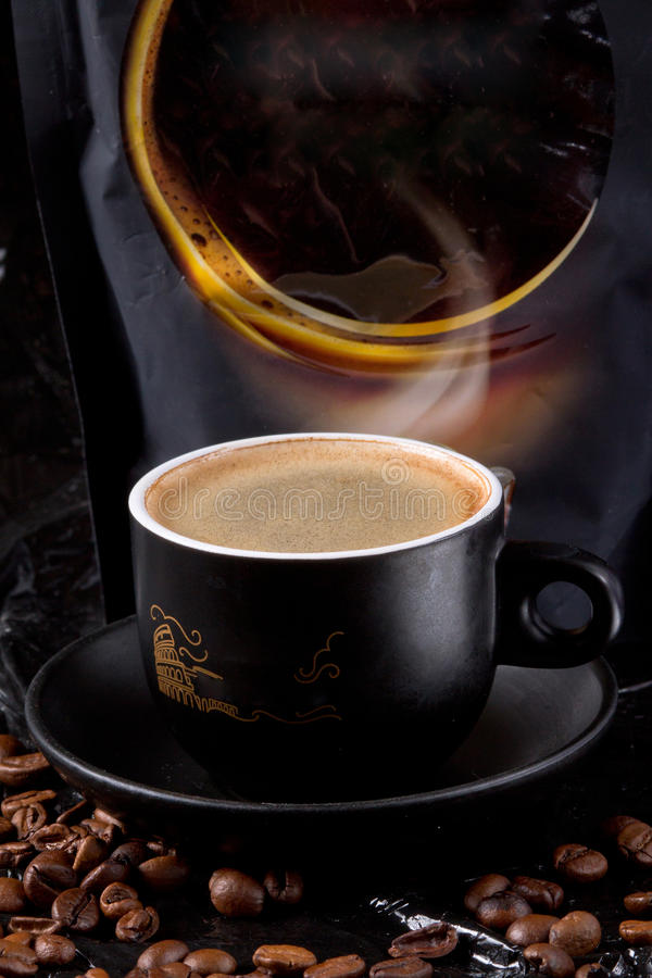 The fragrant aroma of fresh, strong coffee with a rich, thick foam will not leave anyone indifferent royalty free stock image