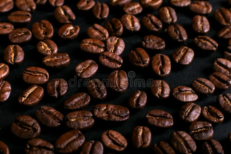 Fragrant coffee beans on rustic tabletop background. Banner copy space. Fragrant coffee beans rustic tabletop background. Banner copy space stock photo