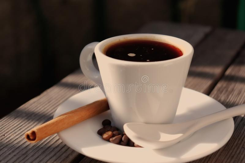Fragrant coffee in the morning sun royalty free stock photography
