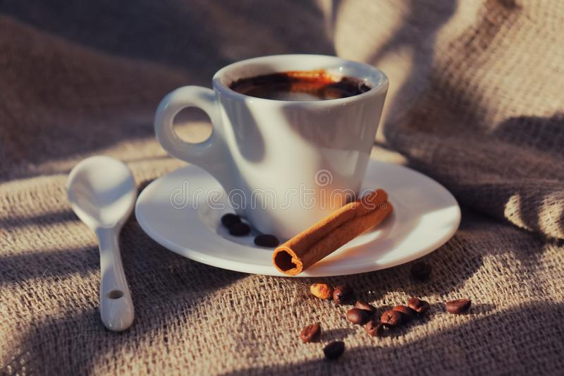Fragrant coffee in the morning sun stock photography