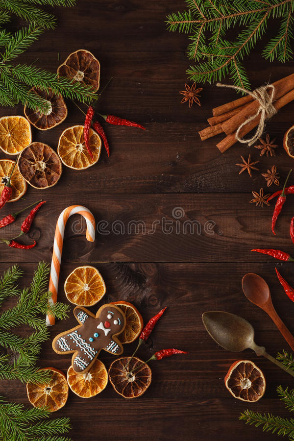 Fragrant, natural Christmas decorations for a plastic-free tree: cinnamon sticks, dried orange slices, pine cones, fir cones, sta. R anise royalty free stock photography