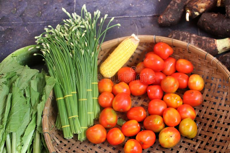 Fragrant onions, tomatoes, corn and kale at a market stock images
