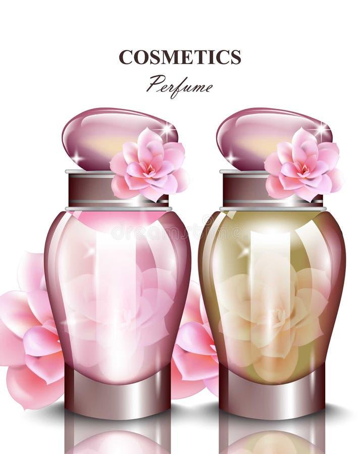 Fragranza rosa della bottiglia di profumo delle donne Le progettazioni di imballaggio realistiche del prodotto vettoriale deridon illustrazione vettoriale