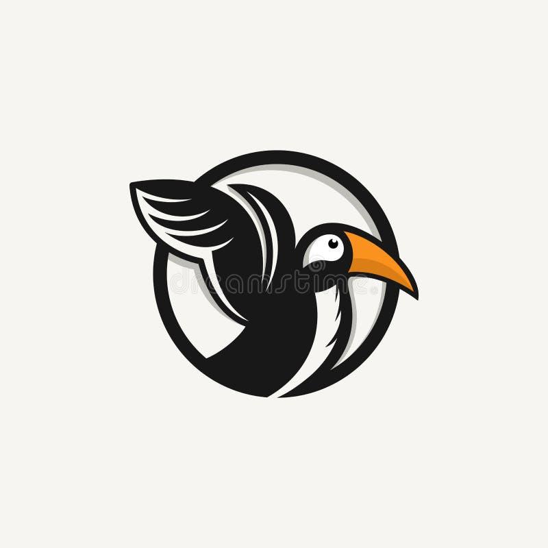 Frailecillo, icono, diseño del vector del logotipo del pájaro ilustración del vector