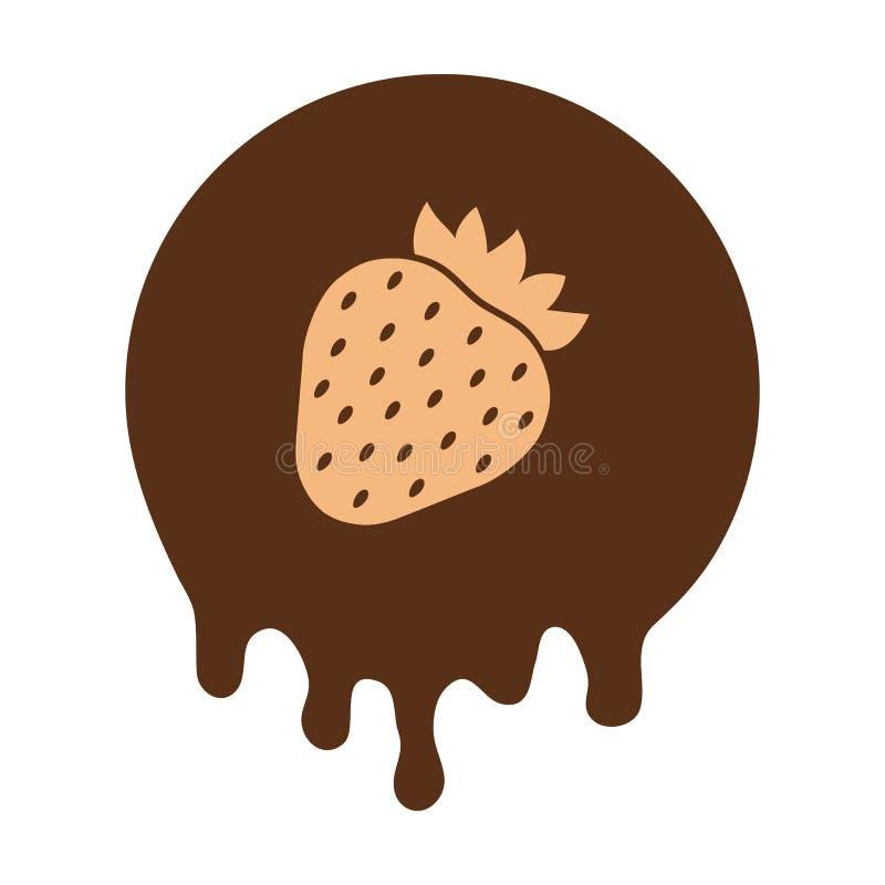 Fraise à l'arrière-plan de chocolat Illustration de vecteur illustration stock