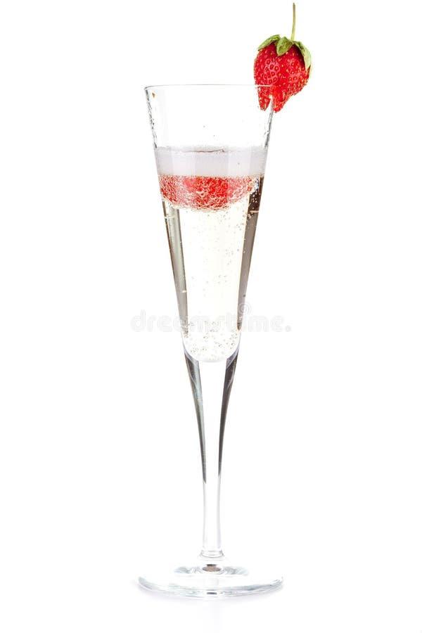Fraise Champagne - cocktail de Noël images libres de droits