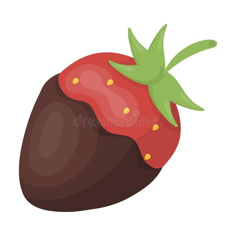 Fraise dans l'icône de chocolat dans le style de bande dessinée d'isolement sur le fond blanc Vecteur d'actions de symbole de des illustration stock